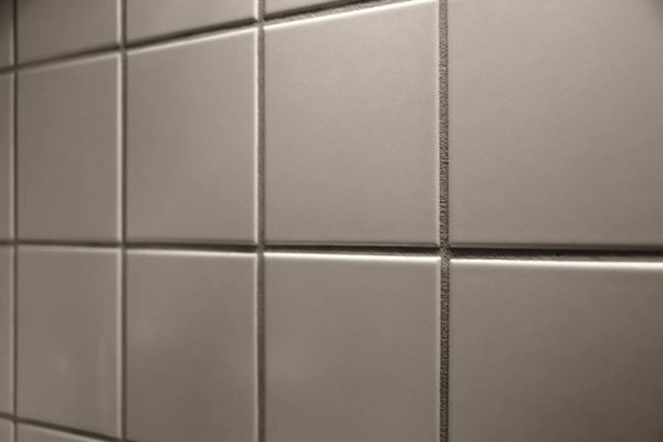 gray new wall tiles in a kitchen