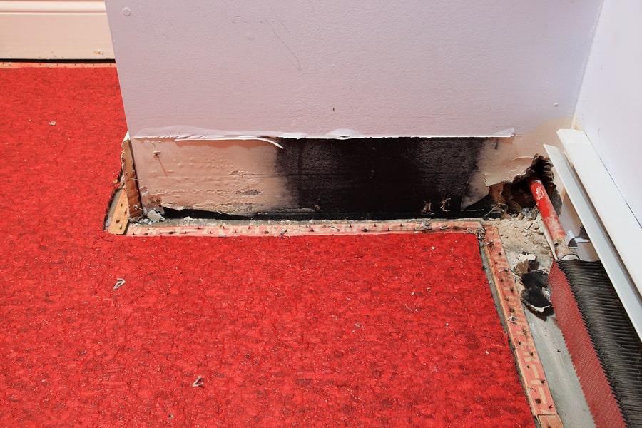 water damage corner walls