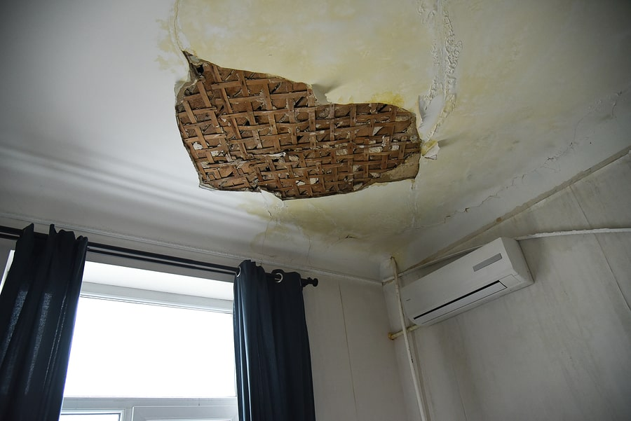 ceiling damage from water leakage